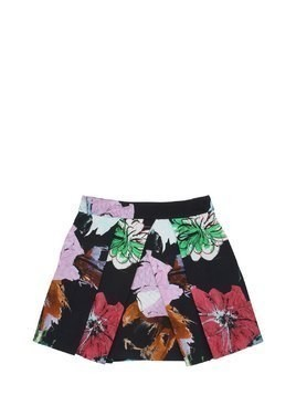 FLORAL PRINT COTTON BLEND OTTOMAN SKIRT