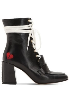 75MM XO LEATHER LACE-UP BOOTS