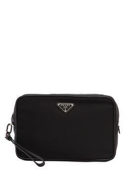 NYLON TOILETRY BAG W/ LEATHER DETAILS