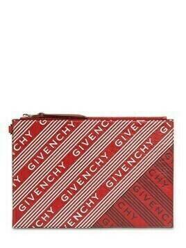 All Over Logo Print Leather Pouch