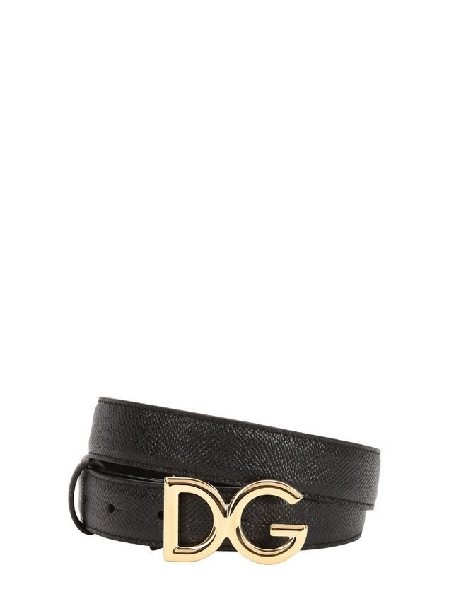 25MM DG LOGO GRAINED LEATHER BELT