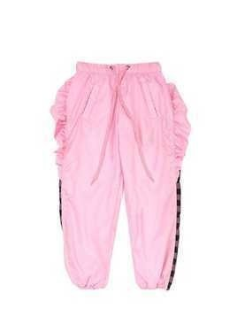 RUFFLED NYLON PANTS