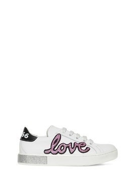 LEATHER SNEAKERS W/ GLITTERED DETAILS