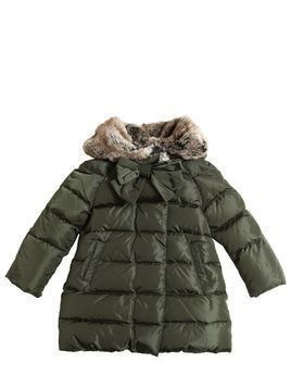 NYLON DOWN COAT W/ FAUX FUR HOOD
