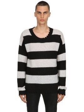 STRIPED MOHAIR WOOL BLEND SWEATER