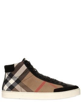 CHECK CANVAS&LEATHER HIGH TOP SNEAKERS