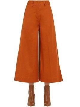 WIDE LEG COTTON TWILL CROPPED PANTS