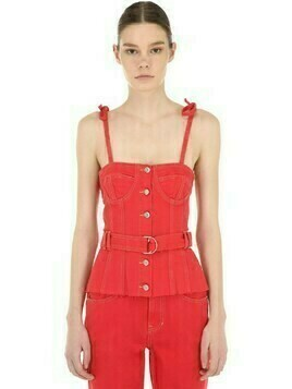 Belted Cotton Denim Corset Top