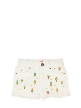 EMBELLISHED STRETCH COTTON DENIM SHORTS