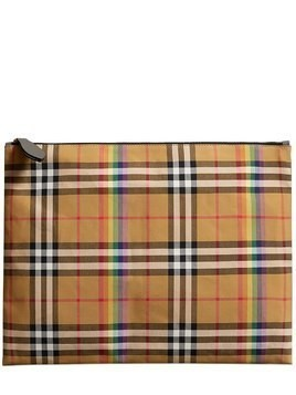 RUNWAY RAINBOW CHECK CANVAS POUCH