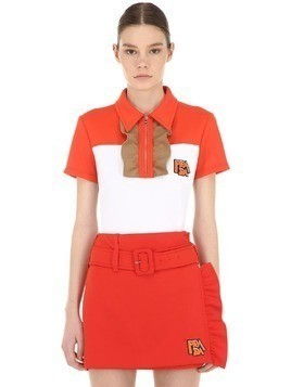 RUFFLED JERSEY POLO SHIRT