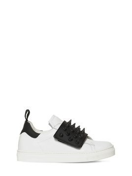 SPIKED TWO TONE LEATHER SNEAKERS