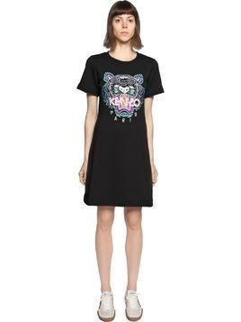 TIGER EMBROIDERED COTTON T-SHIRT DRESS