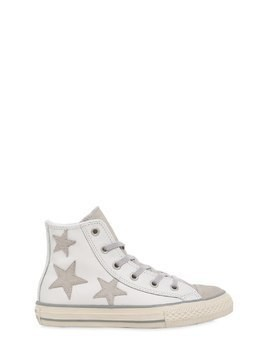 LEATHER & SUEDE SNEAKERS W/ STAR PATCHES