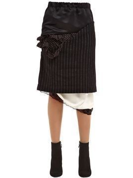 PATCHWORK SATIN & PINSTRIPE WOOL SKIRT