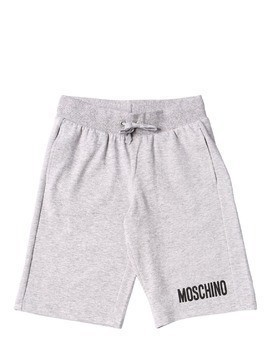 LOGO PRINTED COTTON FLEECE SHORTS