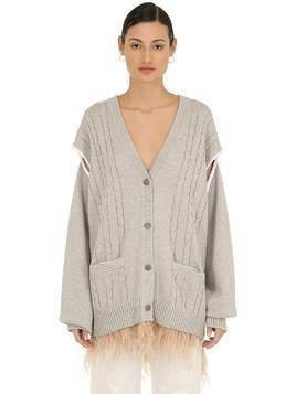 WOOL BLEND KNIT CARDIGAN W/ FEATHERS