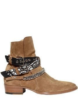 40MM CHAIN&BANDANA BELTED SUEDE BOOTS