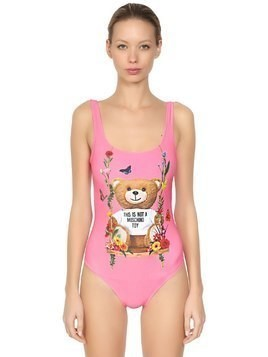 BEAR PRINT LYCRA ONE PIECE SWIMSUIT