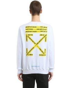 FIRE LINE TAPE PRINTED COTTON SWEATSHIRT