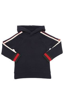 LOGO BANDS HOODED COTTON SWEATSHIRT