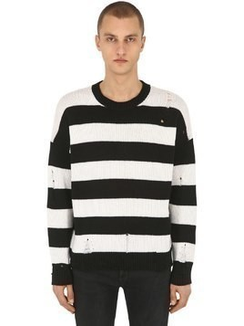 DESTROYED STRIPE WOOL KNIT SWEATER
