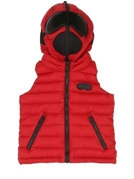HOODED NYLON DOWN VEST W/ LENSES