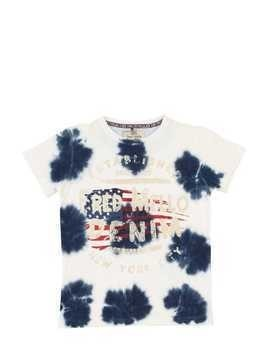 TIE DYED LOGO COTTON JERSEY T-SHIRT