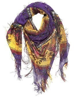 GOA PRINTED SILK SCARF W/ FRINGES