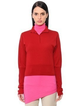 DOUBLE LAYER MERINO WOOL KNIT SHIRT