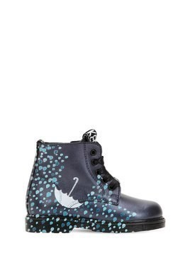 RAIN PRINTED LEATHER ANKLE BOOTS