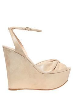 140MM TWISTED BAND METALLIC SUEDE WEDGES
