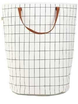 GRID HAND-PRINTED LAUNDRY BASKET