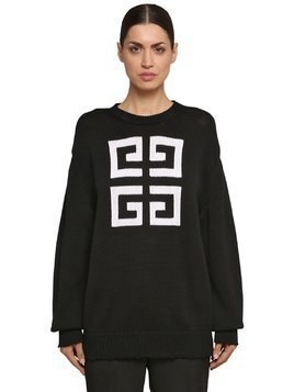 LOGO INTARSIA COTTON KNIT SWEATER
