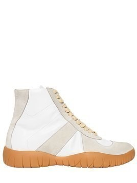 20MM TABI LEATHER & SUEDE SNEAKERS