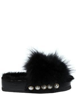 50MM FUR PLATFORM SLIDE SANDALS W/ STUDS