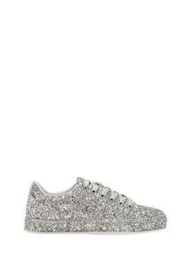 GLITTERED FAUX LEATHER SNEAKERS