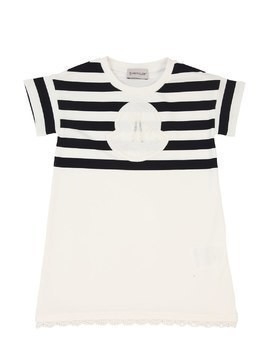 STRIPED COTTON JERSEY DRESS W/LOGO PATCH