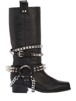40MM STUDDED LEATHER BOOTS