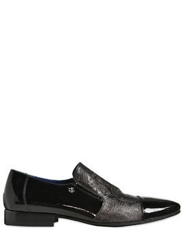EMBOSSED LEATHER&PATENT SLIP ON LOAFERS
