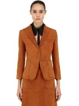 SUEDE SINGLE BUTTON JACKET