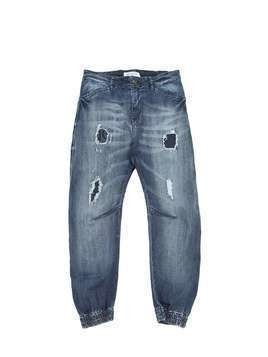 DESTROYED STRETCH DENIM JEANS