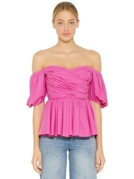 OFF THE SHOULDER DRAPED POPLIN TOP