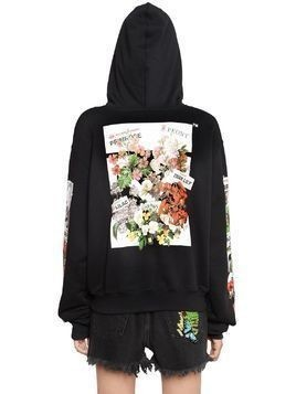 FLORAL HOODED COTTON JERSEY SWEATSHIRT