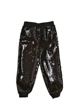SEQUINED CREPE SWEATPANTS