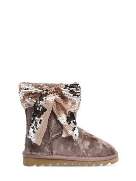 VELVET BOOTS WITH SEQUINED BOW