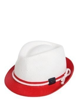 TWO TONE STRAW EFFECT PANAMA HAT