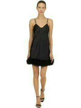 Crepe Slip Dress W/ Feathers