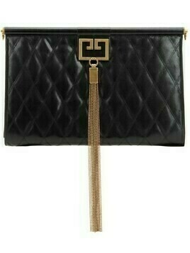 Large Gem Quilted Leather Clutch