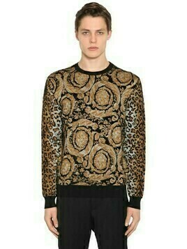 Animalier Viscose Blend Knit Sweater
